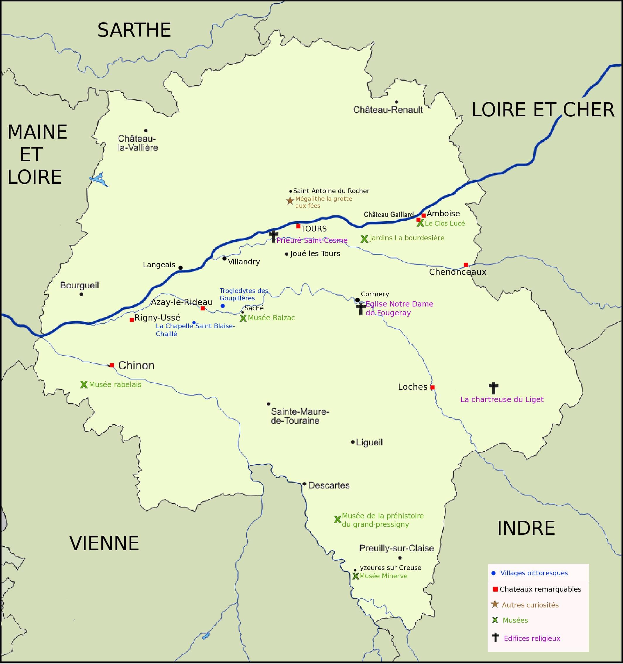 Carte touristique Indre et Loire