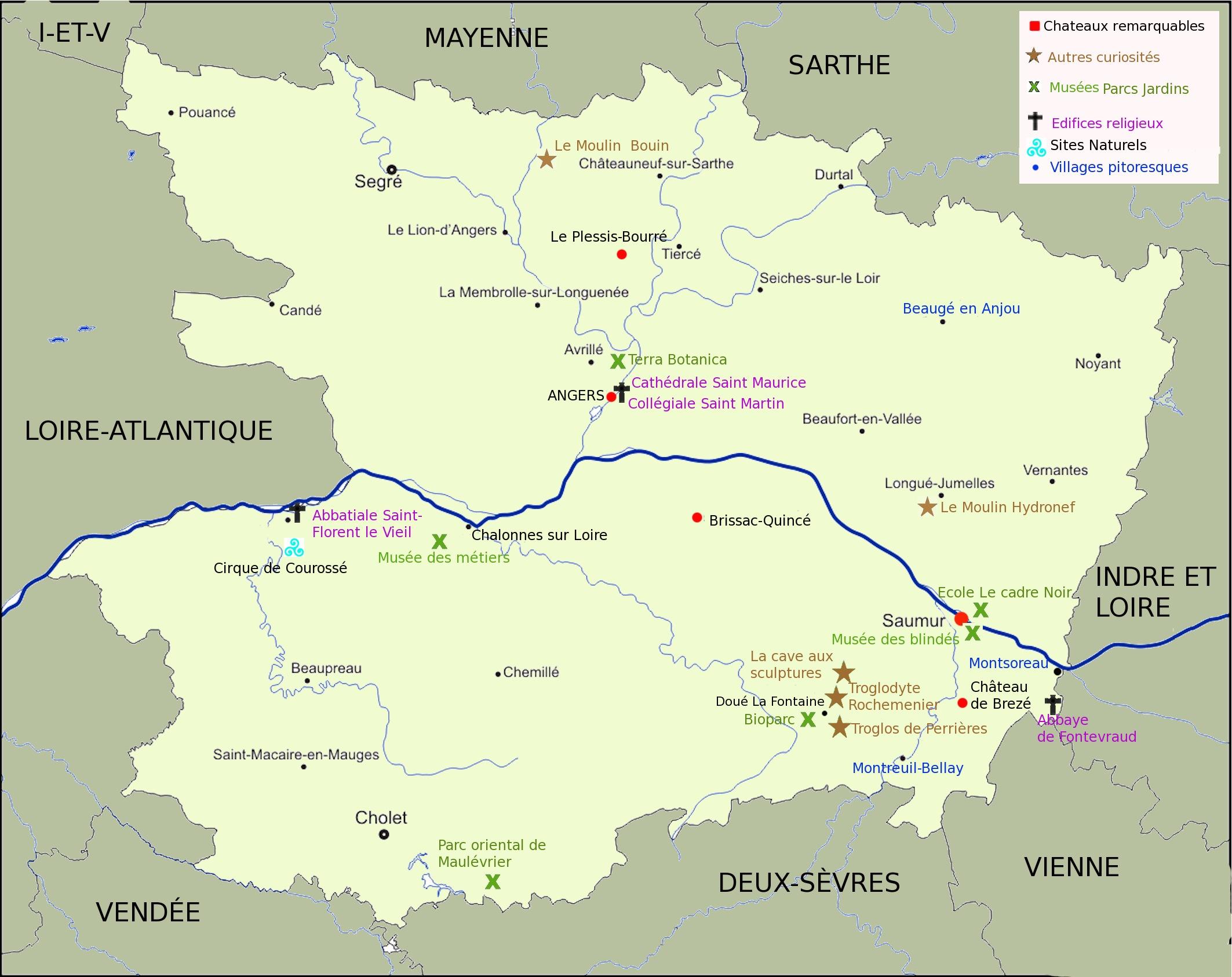 carte tourisme Maine et Loire, 20 meilleures visites maine et Loire