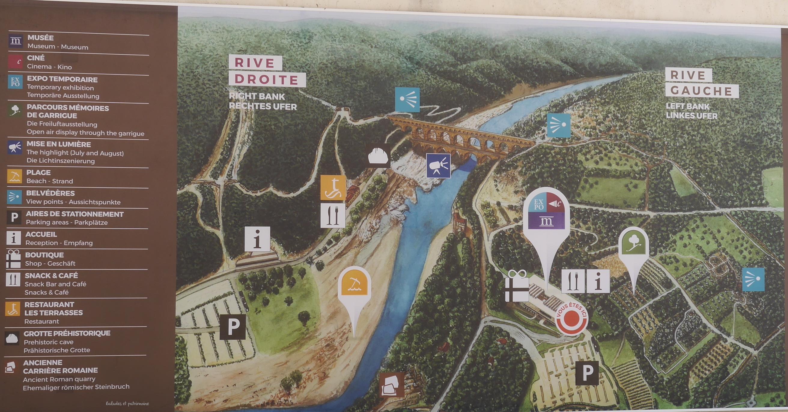 plan site Pont du gard-Tourisme Ardèche