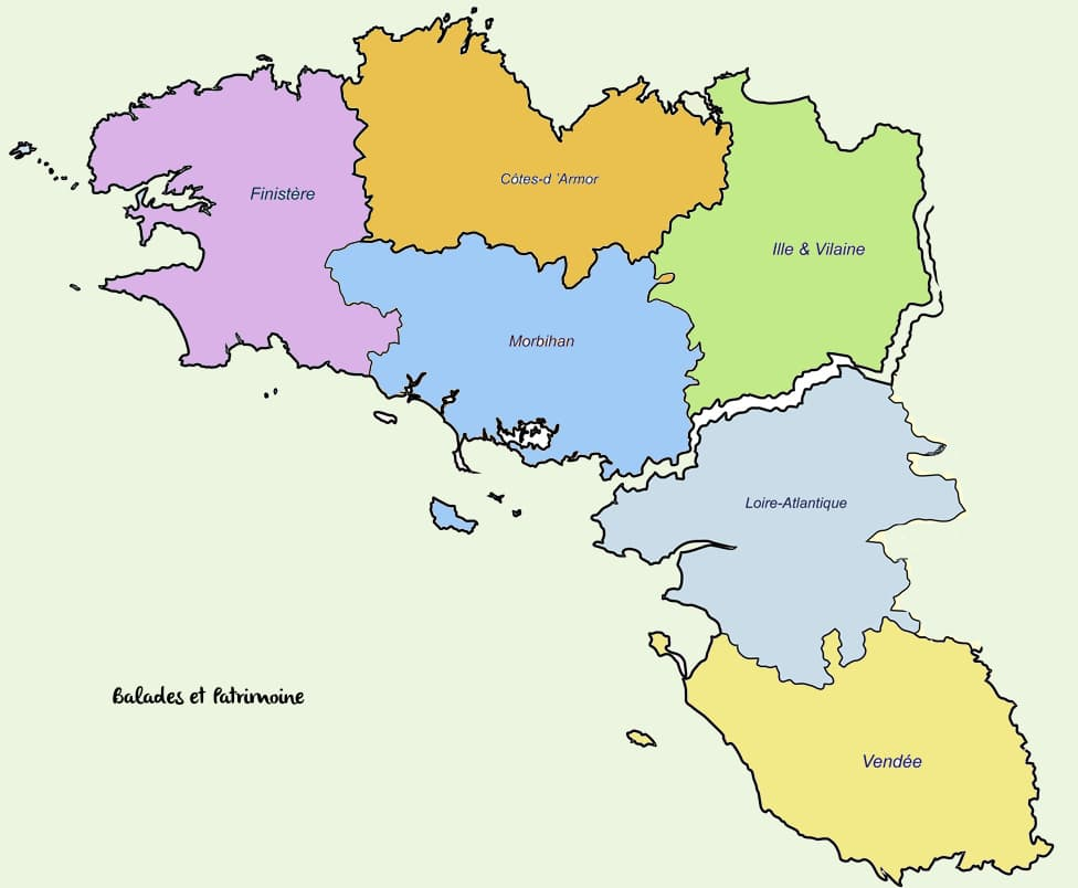 carte bretagne pays de loire carte region Bretagne Pays de Loire Balades et patrimoine